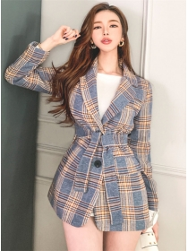 Vogue Korea Tailored Collar Plaids Tie Waist Woolen Coat