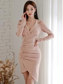 Elegant Lady Tailored Collar Pleated Bodycon Dress