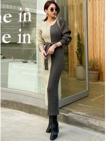 Autumn New Color Block Tie Waist Slim Knitting Long Dress