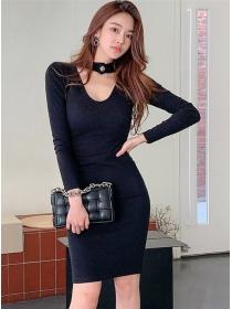 Korea Wholesale Halter Round Neck Slim Knitting Dress