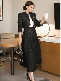 Winter Fashion High Waist Tweed Woolen Long Dress Set