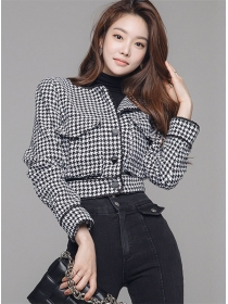 Fashion Autumn Single-breasted Houndstooth Woolen Coat