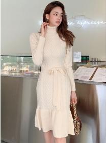 Fashion Korea Stand Collar Fishtail Twisted Knitting Dress