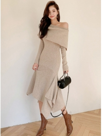 Fashion Lady 2 Colors Boat Neck Fishtail Knitting Dress