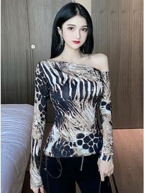 Wholesale Korea Off Shoulder Leopard Slim T-shirt