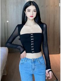 Hot Selling Hooks Gauze Sleeve Slim Short T-shirt