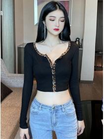 Fashion Lady Leopard Buttons Collar Short Cotton T-shirt