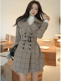 Winter New Double-breasted Plaids Woolen Long Coat