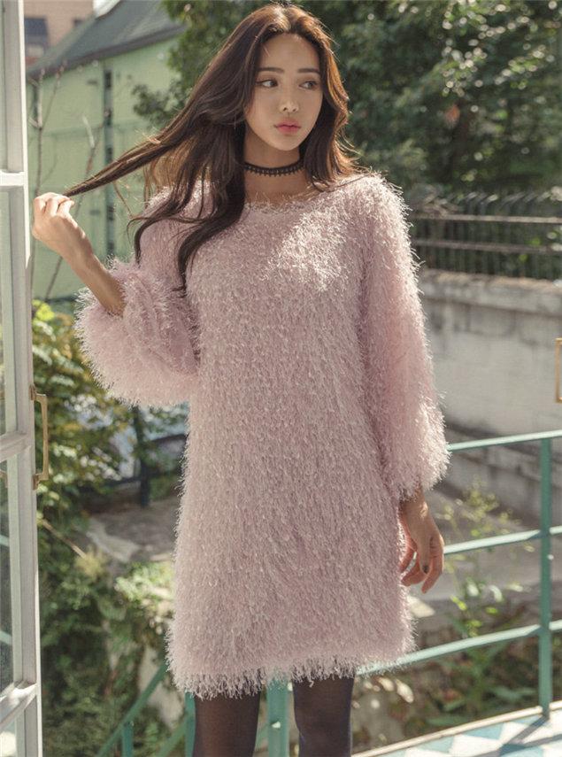 Fashion Korea Round Neck Loosen Puff Sleeve Fur Dress