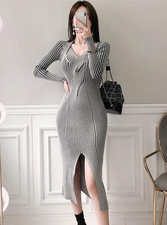 Korea Stylish V-neck Stripes Split Bodycon Knitting Dress