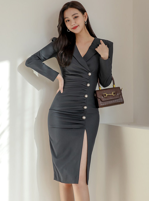 Modern Lady Tailored Collar Pleated Single-breasted Slim Dress