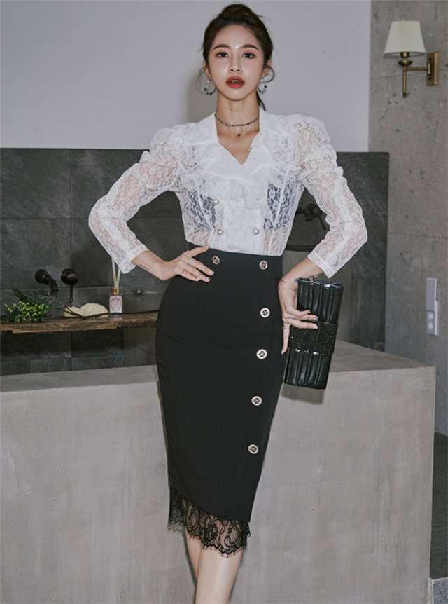 Fashion New Transparent Lace Blouse with Skinny Midi Skirt