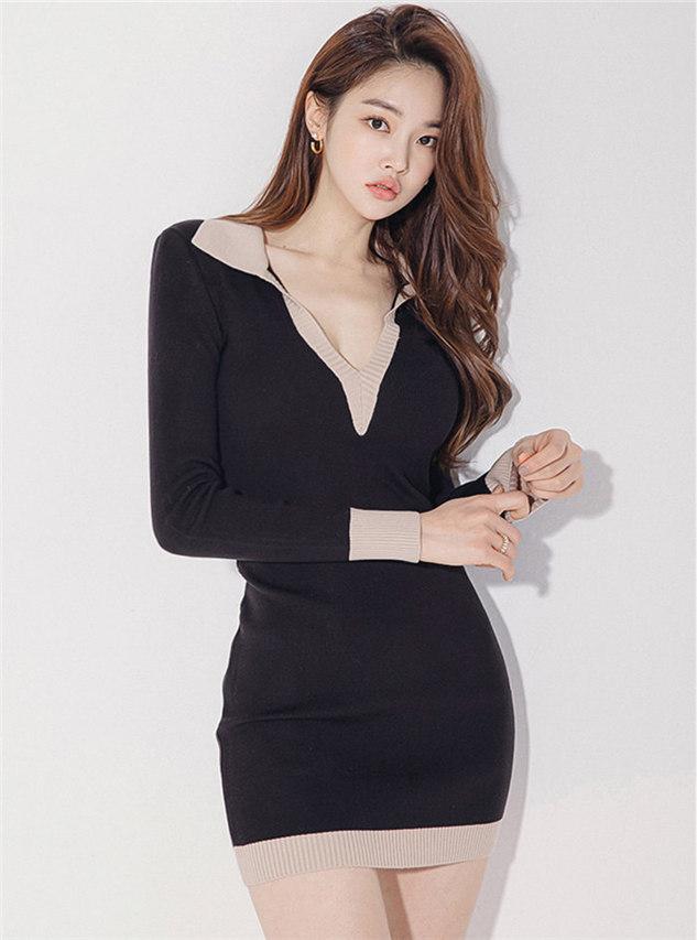 Wholesale Korea Color Block V-neck Slim Knitting Dress