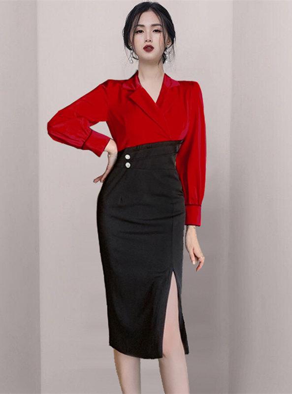 Brand Fashion Color Block Tailored Collar Bodycon Dress