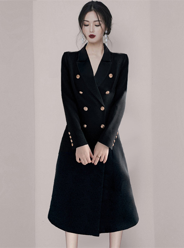 Brand Fashion Double-breasted Tailored Collar Long Coat