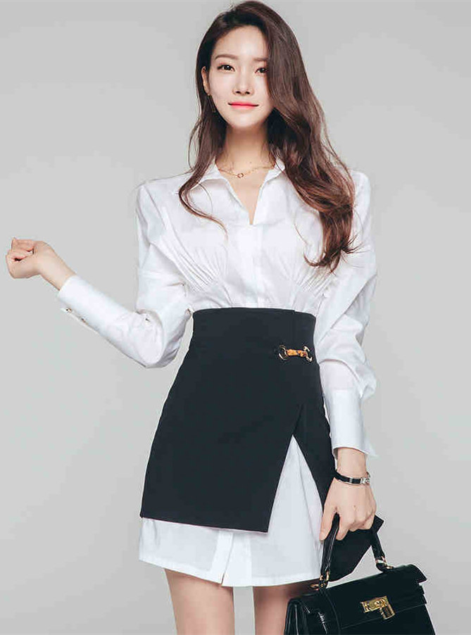 Modern OL Puff Sleeve Shirt Dress with Split A-line Skirt