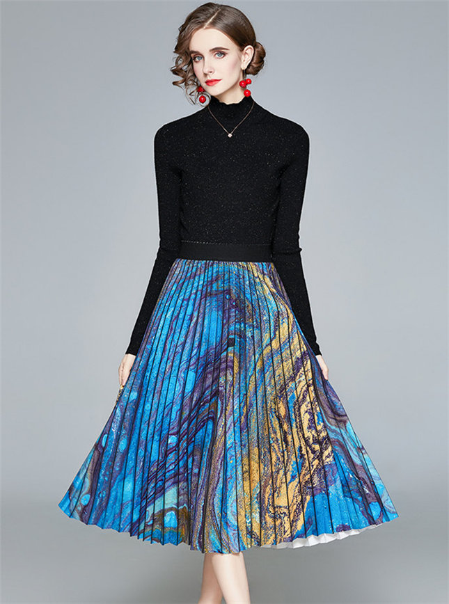 Wholesale Stylish Knitting Tops with Printing Pleated Skirt