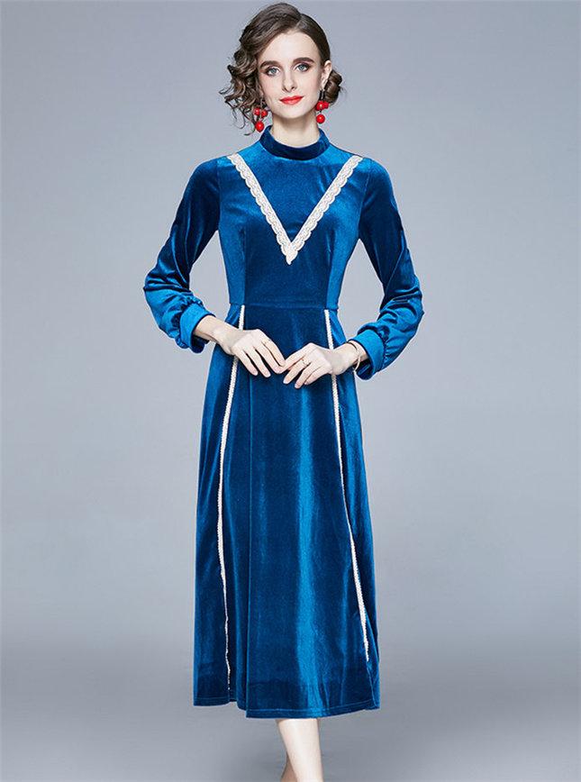 Modern Lady High Waist Velvet Long Sleeve Dress