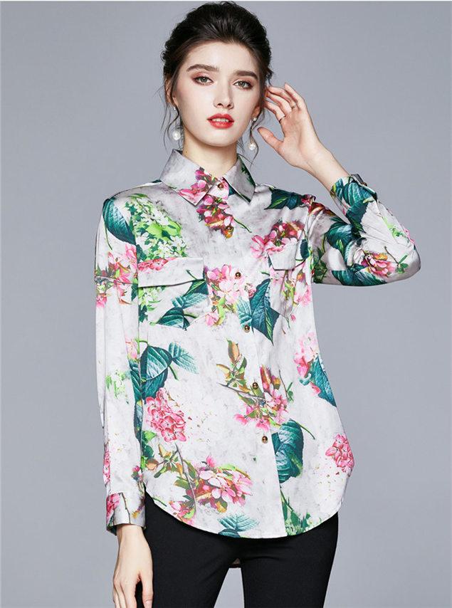 Wholesale Stylish Flowers Shirt Collar Long Sleeve Blouse