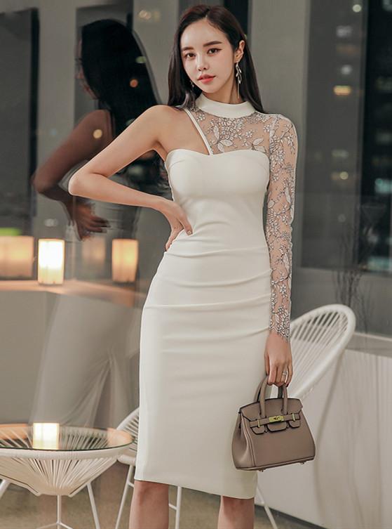 Sexy Fashion Off Shoulder Lace Sleeve Slim Dress