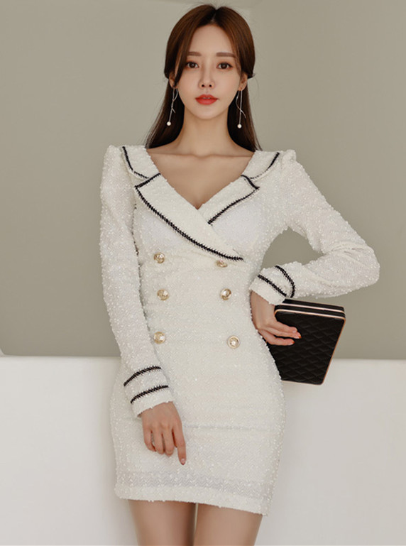 Modern Lady Tailored Collar Double-breasted Slim Dress
