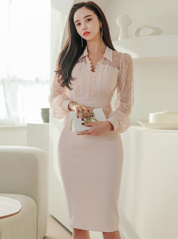 Grace Fashion Shirt Collar Lace Sleeve Bodycon Dress