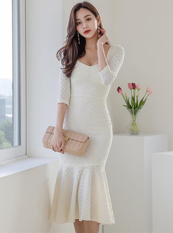 Elegant Fashion Low Bust Fishtail Bodycon Dress