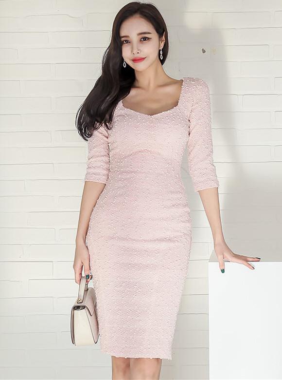 Modern Lady Square Collar Mid-sleeve Bodycon Dress