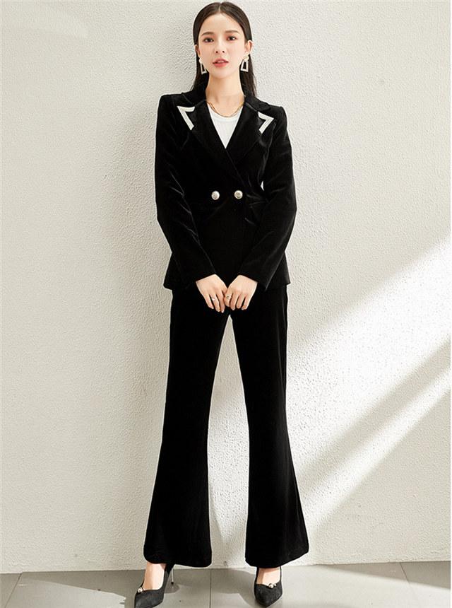 Elegant Lady Tailored Collar Velvet Slim Long Suits