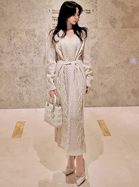 Hot Selling V-neck Tie Waist Twisted Sweater Long Dress