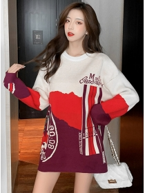 Hot Selling 2 Colors Block Loosen Sweater Pullovers