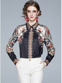 Europe Retro Shirt Collar Flowers Long Sleeve Blouse