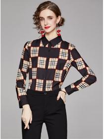Classic Fashion Color Block Plaids Long Sleeve Blouse