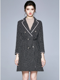 Quality New Double-breasted Tailored Collar Tweed Thick Coat