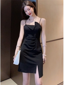 Simple Fashion Pleated Waist Straps Bodycon Dress