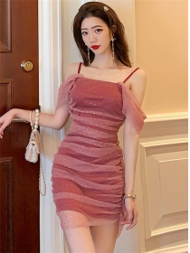 Pretty Sexy Boat Neck Pleated Shining Gauze Straps Dress