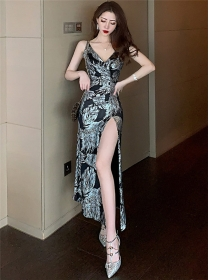 Retro Sexy V-neck Shining Flowers Split Long Dress