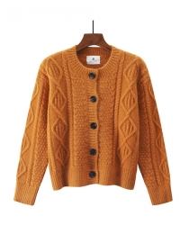 Fashion 4 Colors Buttons Open Twisted Thick Sweater