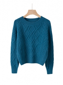 Wholesale 6 Colors Round Neck Twsited Loosen Pullovers