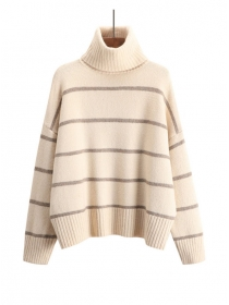 Hot Selling 3 Colors Stand Collar Stripes Loosen Sweater