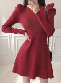 Autumn New 2 Colors Puff Sleeve Knitting A-line Dress