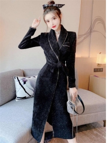 Quality Winter Fashion Tie Waist Woolen Long Coat