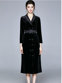 Vogue Lady Double-breasted Tailored Collar Velvet Dress