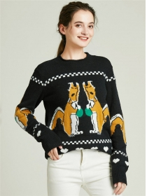 Pretty Fashion Cartoon Squirrel Thick Sweater Pullovers