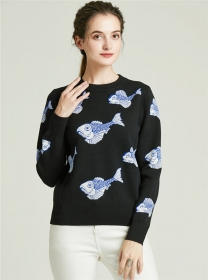 Wholesale Autumn Fishes Thick Knitting Sweater