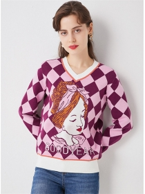 Lovely Fashion V-neck Plaids Cartoon Sweater Pullovers