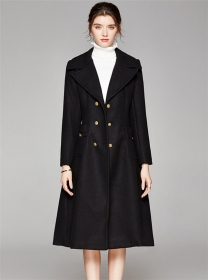 Modern Lady Tailored Collar Double-breasted Woolen Long Coat