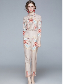 Europe Retro Shirt Collar High Waist Flowers Long Suits