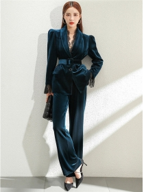 Modern OL Tailored Collar Belt Waist Velvet Long Suits