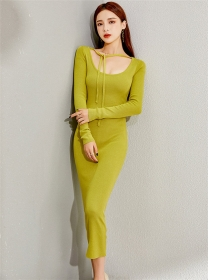 Retro Wholesale Round Neck Slim Knitting Long Dress